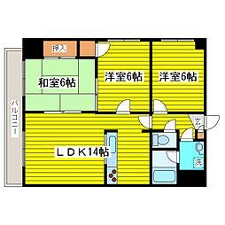 札幌市営東豊線 元町駅 3.2kmの賃貸マンション 2階3LDKの間取り