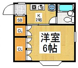 レディーストーワ[1階]の間取り