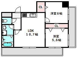 新築DHマンション 9階2LDKの間取り