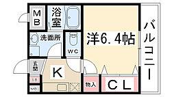 兵庫県伊丹市口酒井2丁目の賃貸アパートの間取り