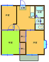 埼玉県熊谷市拾六間の賃貸アパートの間取り
