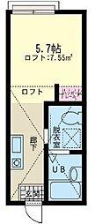 神奈川県横浜市保土ケ谷区峰岡町3丁目の賃貸アパートの間取り