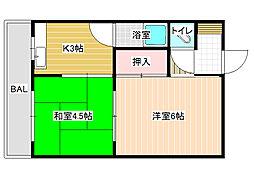 阪南ジャンボハイツ[1階]の間取り