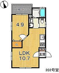 アイレガリアI(我孫子市台田新築アパート) 2階1LDKの間取り