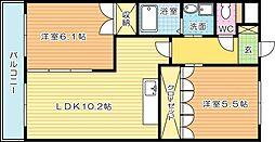 福岡県北九州市小倉南区葛原4丁目の賃貸アパートの間取り