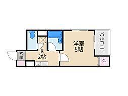 京阪本線 香里園駅 徒歩4分の賃貸マンション 9階1Kの間取り