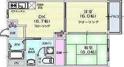 コリーヌコート 2階2DKの間取り