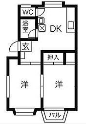 メゾン浜須賀[C号室]の間取り
