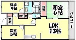 大阪府高石市千代田3丁目の賃貸マンションの間取り