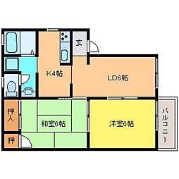 兵庫県神戸市東灘区深江南町3丁目の賃貸アパートの間取り