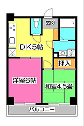 埼玉県所沢市緑町4丁目の賃貸マンションの間取り