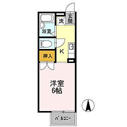 愛知県名古屋市名東区文教台1丁目の賃貸アパートの間取り