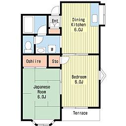 ウエストパークサイドB棟[1階]の間取り