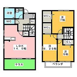 [テラスハウス] 愛知県名古屋市北区志賀町3丁目 の賃貸【/】の間取り
