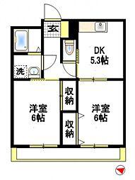 メープルハイツB[2階]の間取り