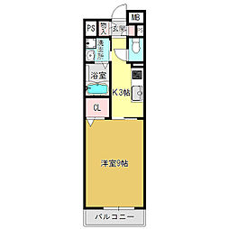 奈良県大和高田市永和町の賃貸マンションの間取り