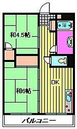 ビレッジハウス柳崎タワー[513号室]の間取り