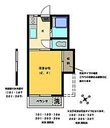 三明ハウス[203号室]の間取り