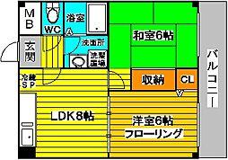 大阪府大阪市東淀川区西淡路3丁目の賃貸マンションの間取り
