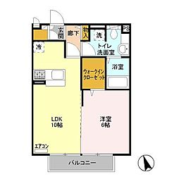 東京都八王子市川口町の賃貸アパートの間取り