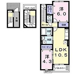 大阪府寝屋川市河北東町の賃貸アパートの間取り