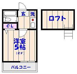 ローズアパートR46[203号室]の間取り