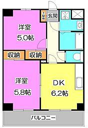 東京都練馬区石神井台2丁目の賃貸マンションの間取り