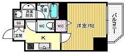 ファーストステージ京町堀レジデンス 15階1Kの間取り