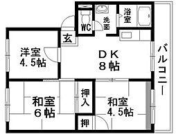 滋賀県甲賀市水口町名坂の賃貸マンションの間取り