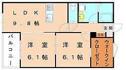 仮)福津中央アパート[2階]の間取り