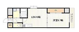 JR山陽本線 西広島駅 徒歩9分の賃貸マンション 9階1LDKの間取り
