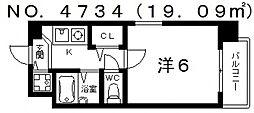 プレサンス阿倍野阪南町[3階]の間取り