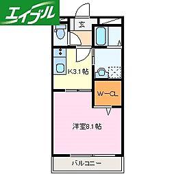 近鉄鳥羽線 宇治山田駅 徒歩21分の賃貸アパート 1階1Kの間取り