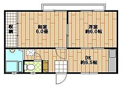 フェリシティハイツ[B−201号室]の間取り