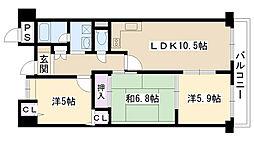 ステーションハイツ千里丘II[202号室]の間取り