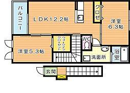 仮)東二島3丁目新築アパート[2階]の間取り