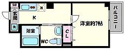 ラ・ヴィラ阿倍野 6階1Kの間取り