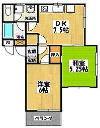 埼玉県草加市八幡町の賃貸アパートの間取り
