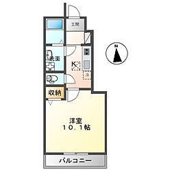 JR常磐線 ひたち野うしく駅 徒歩10分の賃貸アパート 1階1Kの間取り