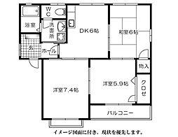 グリーンハウス高須台[201号室]の間取り