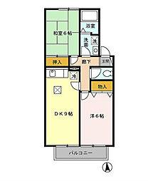 東京都小平市花小金井2丁目の賃貸アパートの間取り