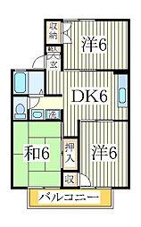 千葉県柏市松葉町5丁目の賃貸アパートの間取り