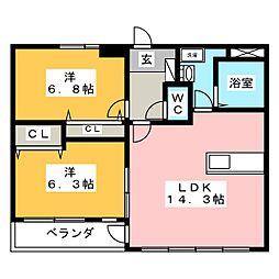 グランベール 4階2LDKの間取り