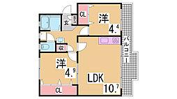 神鉄粟生線 西鈴蘭台駅 徒歩15分の賃貸マンション 2階2LDKの間取り