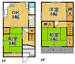 [一戸建] 大阪府大阪市大正区三軒家西3丁目 の賃貸【/】の間取り