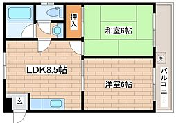兵庫県神戸市灘区城内通2丁目の賃貸マンションの間取り
