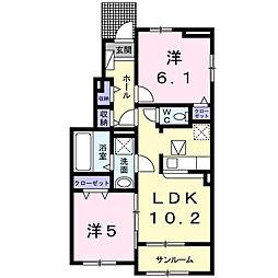 サンシーサイドIII[1階]の間取り