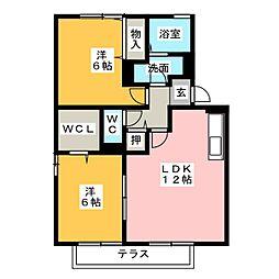 ヴィラージュU[1階]の間取り