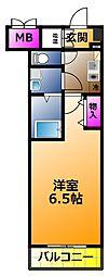 CASSIA高井田NorthCourt 2階1Kの間取り