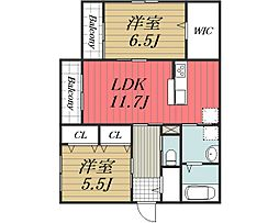 京成本線 公津の杜駅 徒歩19分の賃貸マンション 2階2LDKの間取り